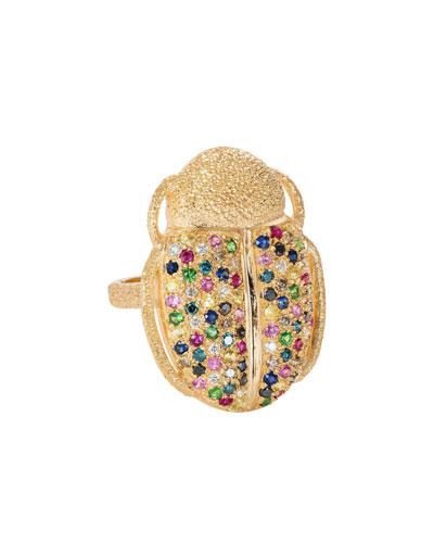 18k Gold Scarab Multi-Stone Ring  Size 6