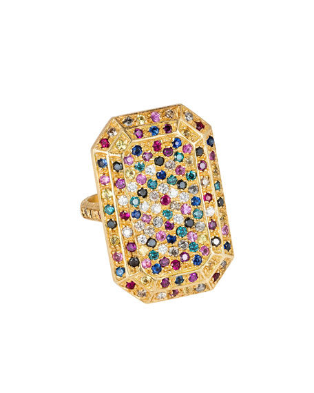 Carolina Bucci 18K GOLD LOOKING GLASS EMERALD-CUT RING