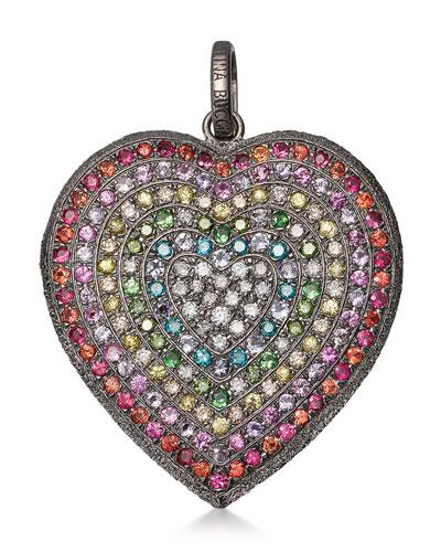 18k Black Gold Florentine Rainbow Heart Pendant