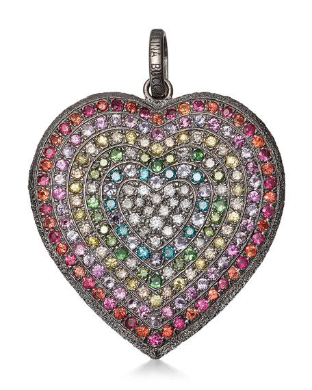 Carolina Bucci 18K BLACK GOLD FLORENTINE RAINBOW HEART PENDANT