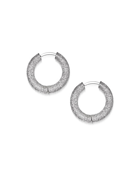 18k White Gold Florentine Huggie Hoop Earrings