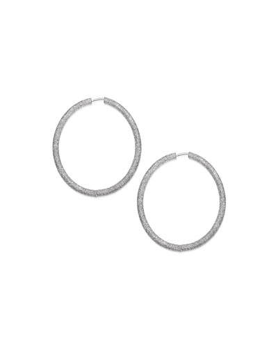 18k White Gold Florentine Extra-Large Hoop Earrings