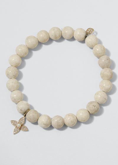 14k Pearl Flower & Fossil Bracelet