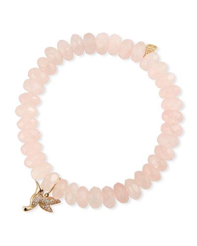 14k Diamond Hummingbird & Rose Quartz Bracelet