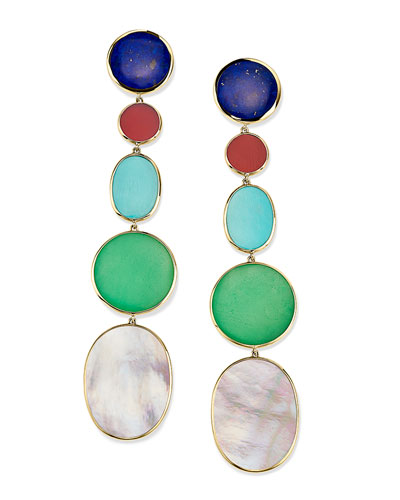 18K Polished Rock Candy Long Linear Earrings in Viareggio