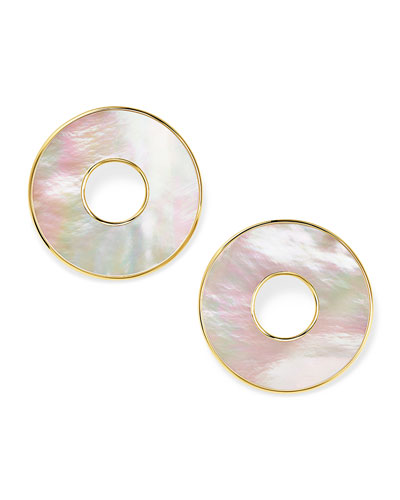18K Polished Rock Candy Donut Slice Clip Earrings in Mother-of-Pearl
