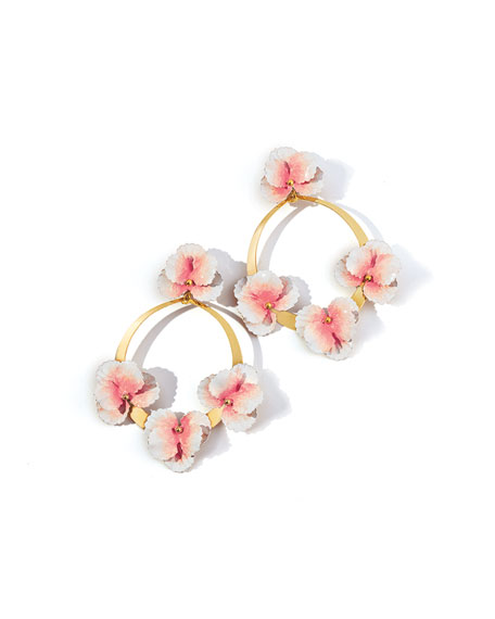 Jennifer Behr Voleta Floral Hoop-Drop Earrings, Blush