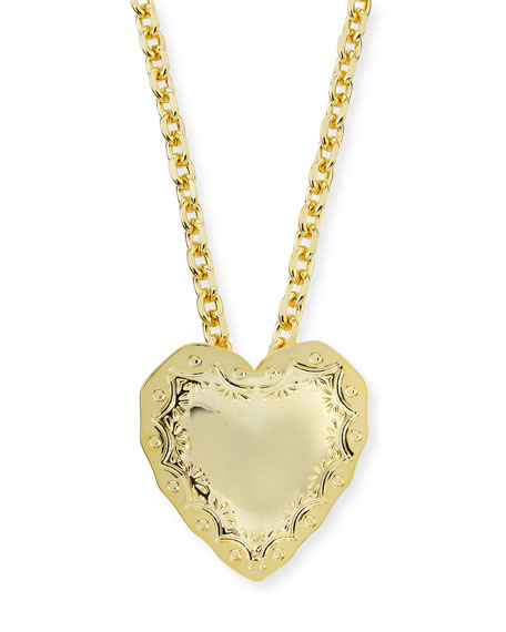 Repousse Heart Pendant Necklace