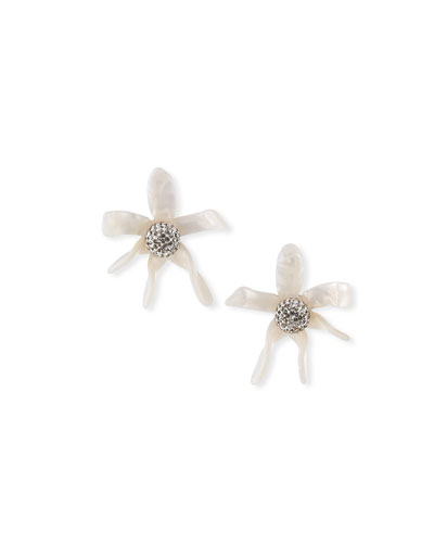 Water Lily Button Earrings  White