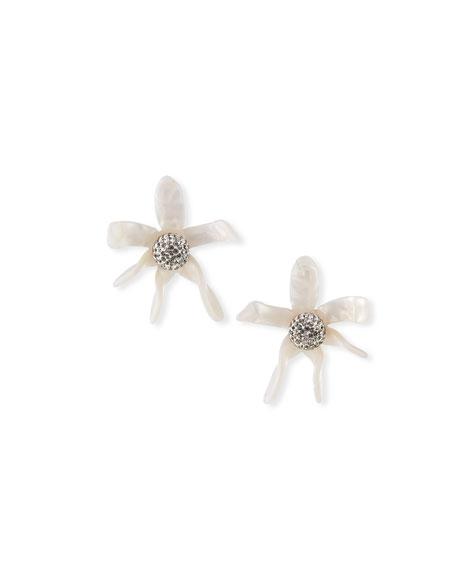 Lele Sadoughi Water Lily Button Earrings, White