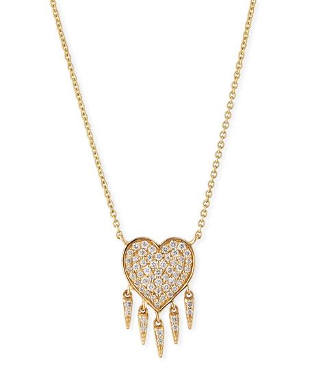 14k Gold Diamond Heart & Fringe Pendant Necklace