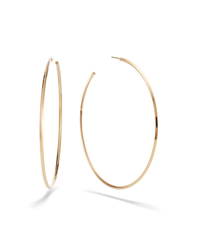 Hollow 14k Gold Skinny Hoop Earrings