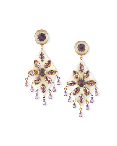 Ashley Pittman Ibada Horn & Amethyst Drop Earrings,