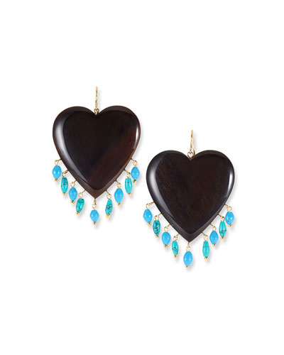 Landa Heart & Dangle Earrings  Dark/Turquoise