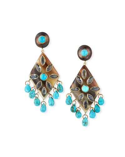 Ibada Horn & Topaz Drop Earrings  Dark/Blue