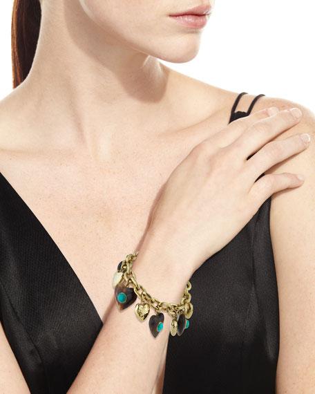 Makundi Heart-Charm Bracelet w/ Turquoise