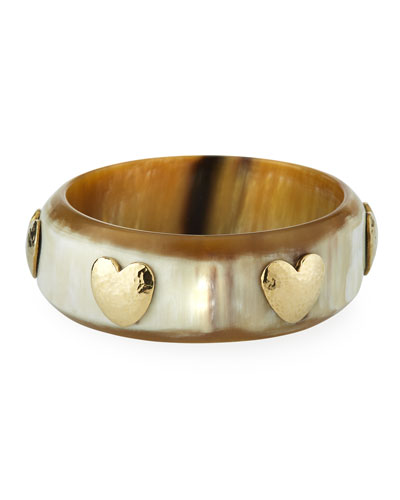 Milele Heart Bangle in Light Horn