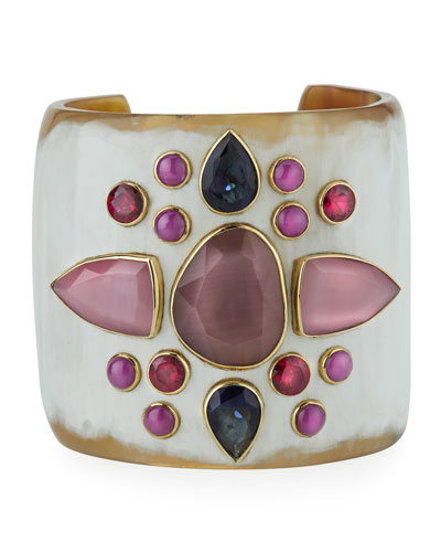 Sala Mixed-Stone Cuff Bracelet in Light Horn