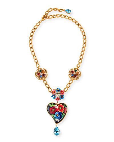 Flower & Heart-Pendant Necklace