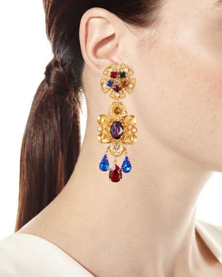 Crystal Pear-Dangle Earrings