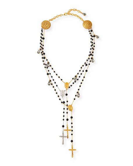 3-Layer Beaded Cross Necklace