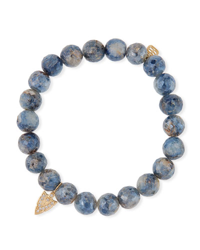 14k Diamond Arrowhead & Kyanite Bracelet
