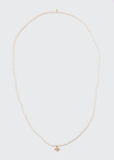 Sydney Evan Accessories 14K DIAMOND EVIL EYE & PEARL NECKLACE
