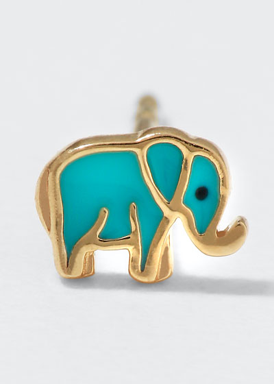 14k Mini Elephant Enamel Stud Earring  Left