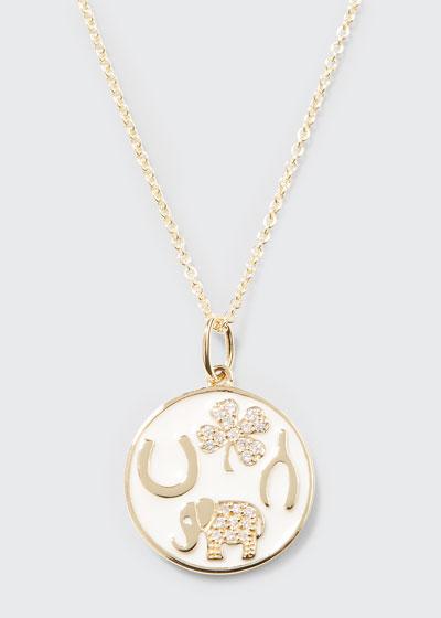 14k Luck Tableau Diamond Medallion Necklace  White