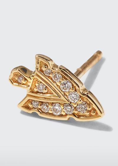 14k Tiny Diamond Arrowhead Stud Earring  Single