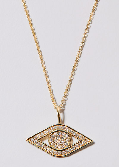 14k Yellow Gold Small Diamond Evil Eye Necklace