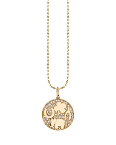 14k Luck Tableu Diamond Medallion Necklace