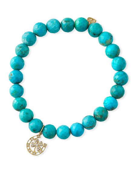 Sydney Evan 14k Diamond Lucky Charm & Turquoise