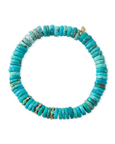 14k Arizona Turquoise & Diamond Bracelet