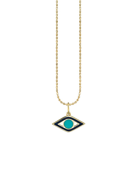14k Navy Enamel & Turquoise Evil Eye Necklace