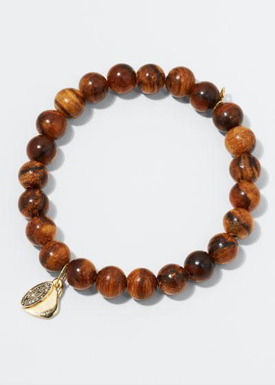 14k Diamond Coffee Cup & Wood Bracelet