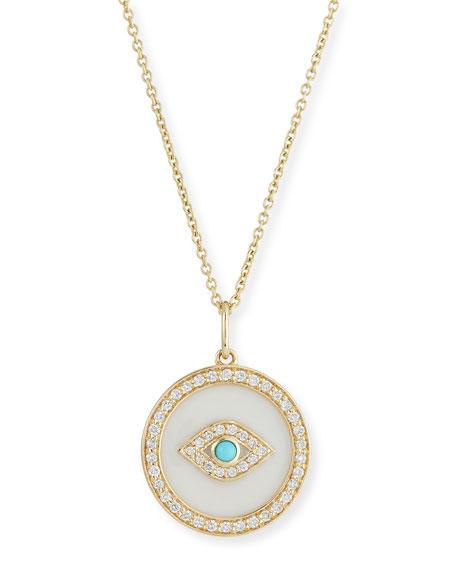 Sydney Evan 14k Evil Eye Diamond Medallion Necklace