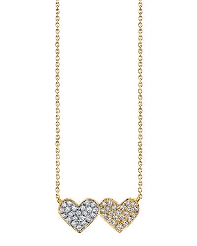 14k Diamond Double-Heart Pendant Necklace