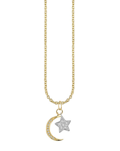 14k Two-Tone Moon & Star Diamond Charm Necklace