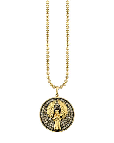 14k Large Angel Medallion Necklace w/ Diamonds