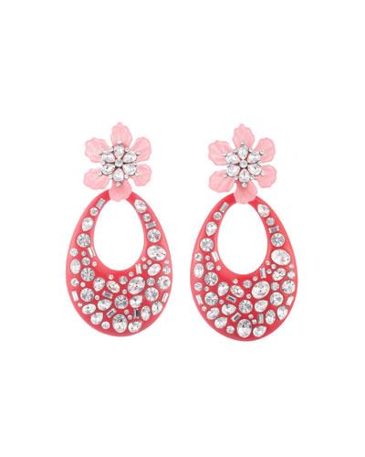Blossom Crystal Flower & Teardrop Earrings