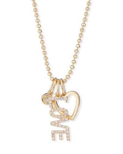 14k Diamond Love Charm Necklace