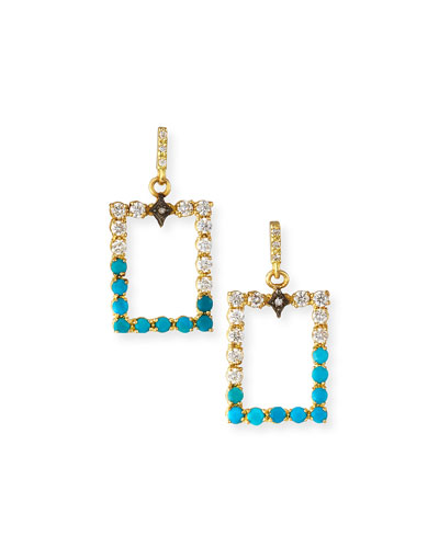 Old World Rectangular Diamond & Turquoise Drop Earrings
