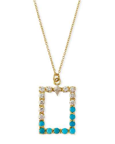 Old World Rectangular Pendant Necklace w/ Diamonds & Turquoise