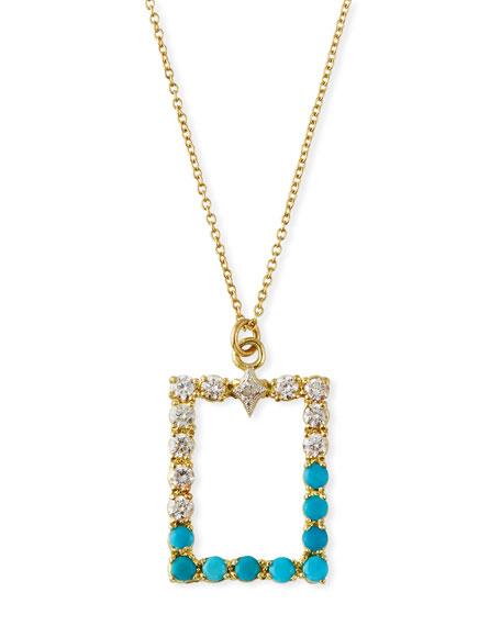 Armenta Old World Rectangular Pendant Necklace w/ Diamonds