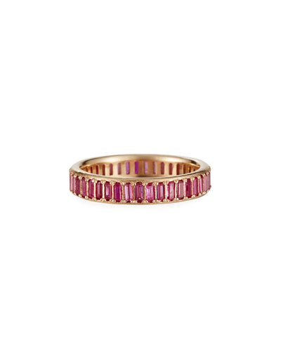 Cuento 14k Pink Sapphire Baguette Ring  Size 6.5