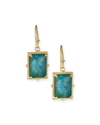 Old World 18k Rectangular Triplet Earrings w/ Diamonds