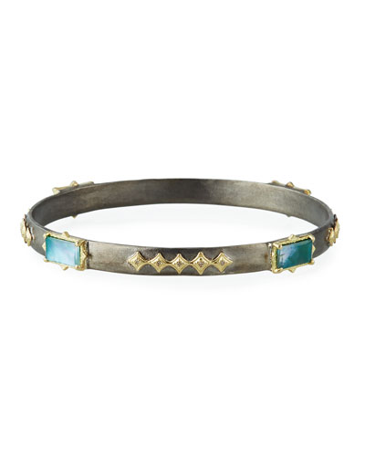 Old World Triplet & Diamond Crivelli Bangle w/ 18k Gold