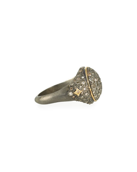 old World Diamond Pave Signet Ring, Size 6.5