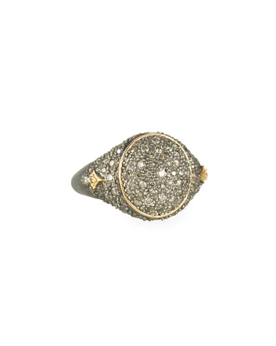 old World Diamond Pave Signet Ring  Size 6.5